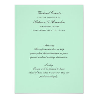 Lucite Green Weekend Wedding Events Card