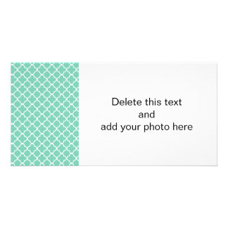 Lucite Green White Quatrefoil Moroccan Pattern Card