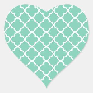 Lucite Green White Quatrefoil Moroccan Pattern Heart Sticker
