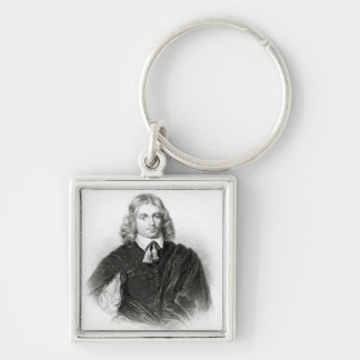 Lucius Carey  illustration Silver-Colored Square Keychain