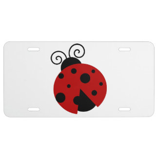 Luck be a Ladybug Cartoon License Plate
