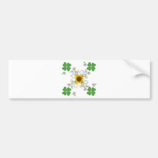 Luck clover more clover with sunflower and Calla l Bumper Sticker