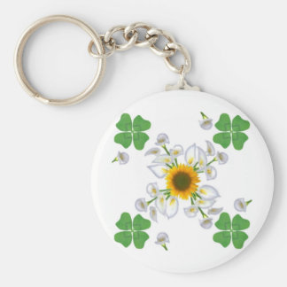 Luck clover more clover with sunflower and Calla l Keychain