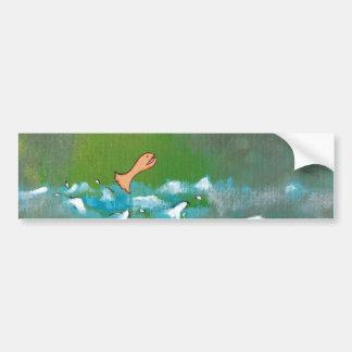 Luck fun unique painting fish bird meeting art bumper sticker