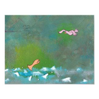 Luck fun unique painting fish bird meeting art card
