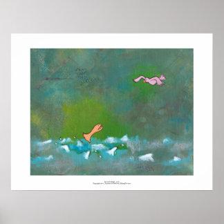 Luck fun unique painting fish bird meeting art poster