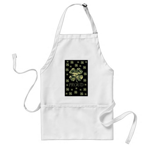 Luck Irish Four leaf clover - Camouflage Adult Apron