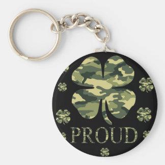 Luck Irish Four leaf clover - Camouflage Basic Round Button Keychain