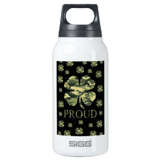 Luck Irish Four leaf clover - Camouflage Thermos Bottle