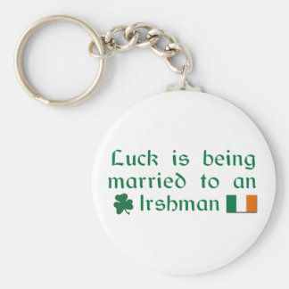 Luck is Being Married To An Irishman Basic Round Button Keychain