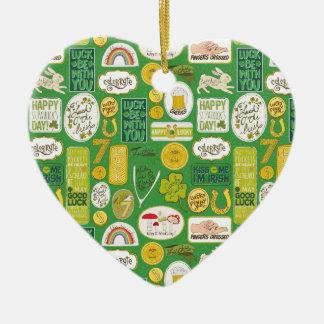 Luck Lucky Irish Ceramic Heart Ornament