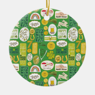 Luck Lucky Irish Round Ceramic Ornament