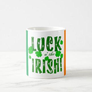 Luck o the Irish Green Orange Lucky Shamrocks Mug