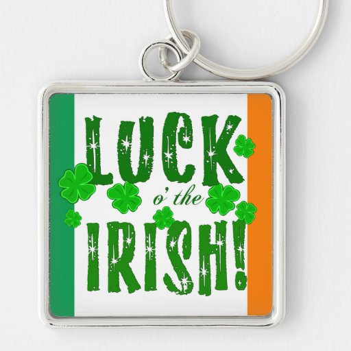Luck o the Irish Green Orange White Key Chain