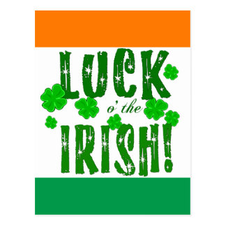 Luck o the Irish Green Orange White Postcard