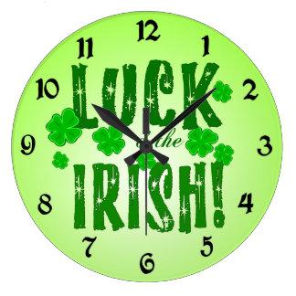 Luck o the Irish Green Shamrocks Clock
