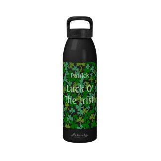 Luck o the Irish Green Shamrocks Custom Name Reusable Water Bottle