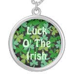 Luck o the Irish Green Shamrocks Lucky Custom Personalized Necklace