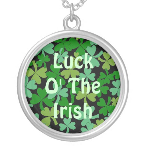 Luck o the Irish Green Shamrocks Lucky Custom Personalized Necklace