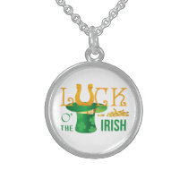Luck o the irish horse shoe and irish hat sterling silver necklace