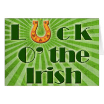 Luck o the irish , horse shoe card