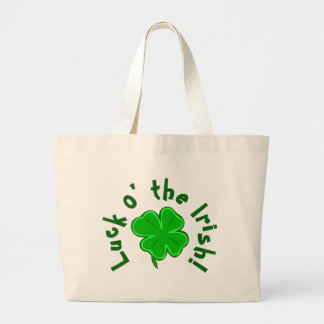 Luck o the Irish Lucky Shamrock Canvas Tote