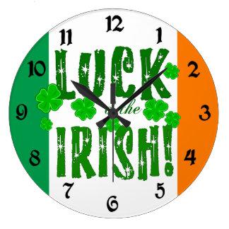 Luck o the Irish Orange Green Shamrocks Clock