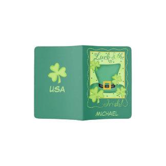 Luck of Irish Green Name Personalized USA Ireland Passport Holder