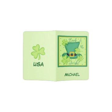 USA Themed Luck of Irish Lime Green Name Custom USA Ireland Passport Holder