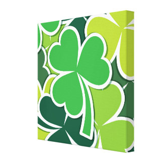 Luck of the Irish Shamrock Design Stretched Canvas Prints