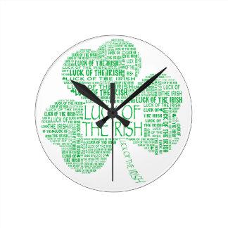 Luck of the Irish Shamrock Round Clock
