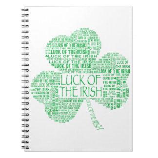 Luck of the Irish Shamrock Spiral Notebook