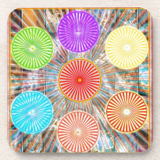 LUCKY7 Blessings Goodluck Chakra Rounds Circles Beverage Coaster