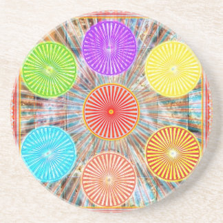 LUCKY7 Blessings Goodluck Chakra Rounds Circles Sandstone Coaster