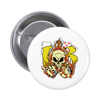 Lucky 13 Dice and Skull Button