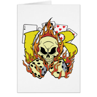 Lucky 13 Dice and Skull Card