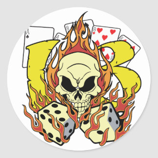 Lucky 13 Dice and Skull Classic Round Sticker