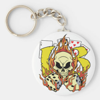 Lucky 13 Dice and Skull Keychain