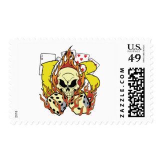 Lucky 13 Dice and Skull Postage