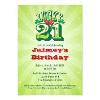 Lucky 21 - Custom Birthday Party Invitation