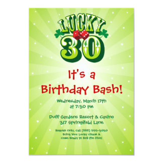 """Lucky 30 Party Invitation on Green 5"""" X 7"""" Invitation Card"""
