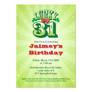 Lucky 31 - Custom Birthday Party Invitation