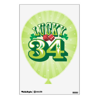 Lucky 34 - Birthday Balloon Wall Cling Wall Decal