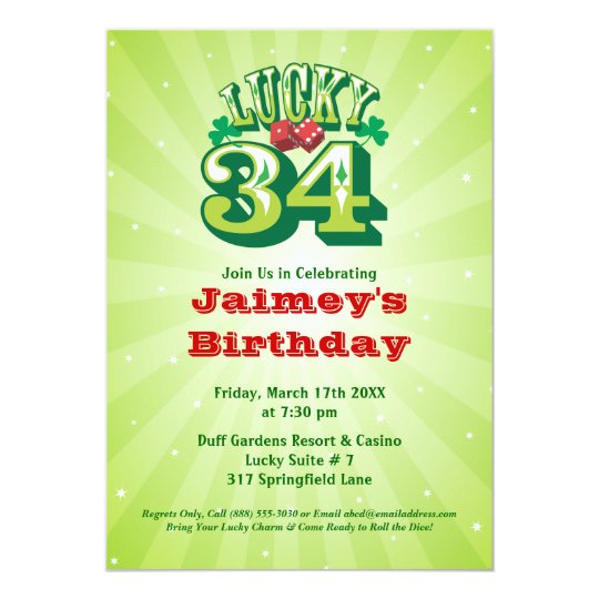 Lucky 34 - Custom Birthday Party Invitation