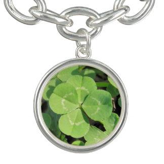 Lucky 4 Leaf Clover Good Luck Charm Bracelet