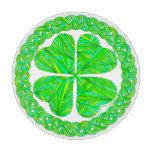 Lucky 4 Leaf Clover Shamrock Glass Cheese Platter