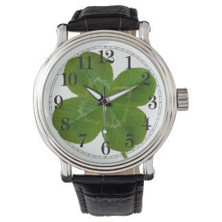 Lucky 4 leaf clover talisman watch