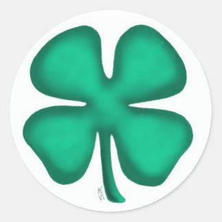Lucky 4 Leaf Irish Clover round white sticker