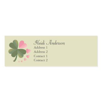 Lucky 4 Leaf Love Clover Skinny Card Double-Sided Mini Business Cards (Pack Of 20)