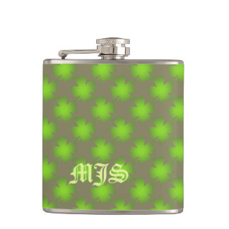 Lucky 4-Leafed Clover Monogram Template Flask